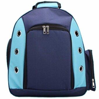 กระเป๋าใส่สัตว์เลี้ยง เป้อุ้มสุนัข แมว แบบสะพายหลัง รุ่น A61(สีน้ำเงิน)