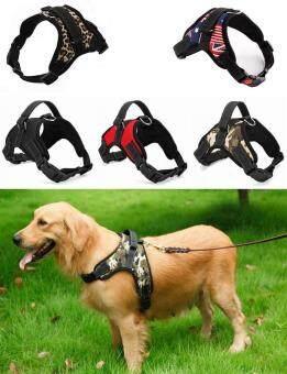 Big Dog Soft Harness ปรับสัตว์เลี้ยงสุนัข \n สายคล้องคอสายคล้องคอขนาดใหญ่สำหรับสุนัขขนาดเล็กและใหญ่ Pitbulls -Leopard (XL)
