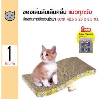 Cat Toy ของเล่นแมว ที่ลับเล็บแมว รูปคลื่นกลาง สำหรับแมวทุกวัย ขนาด 38x21x4.3 ซม. ฟรี! Catnip กัญชาแมว