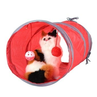 Cat Tunnel Toy Playing Tube with Tinkle Bell & Plush Ball(Red)- intl