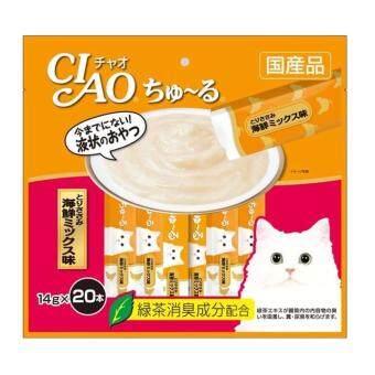 CIAO Churu ขนมแมวเลีย ชูหรู ปลาทูน่าผสมหอยเชลล์ จำนวน 20 ซอง