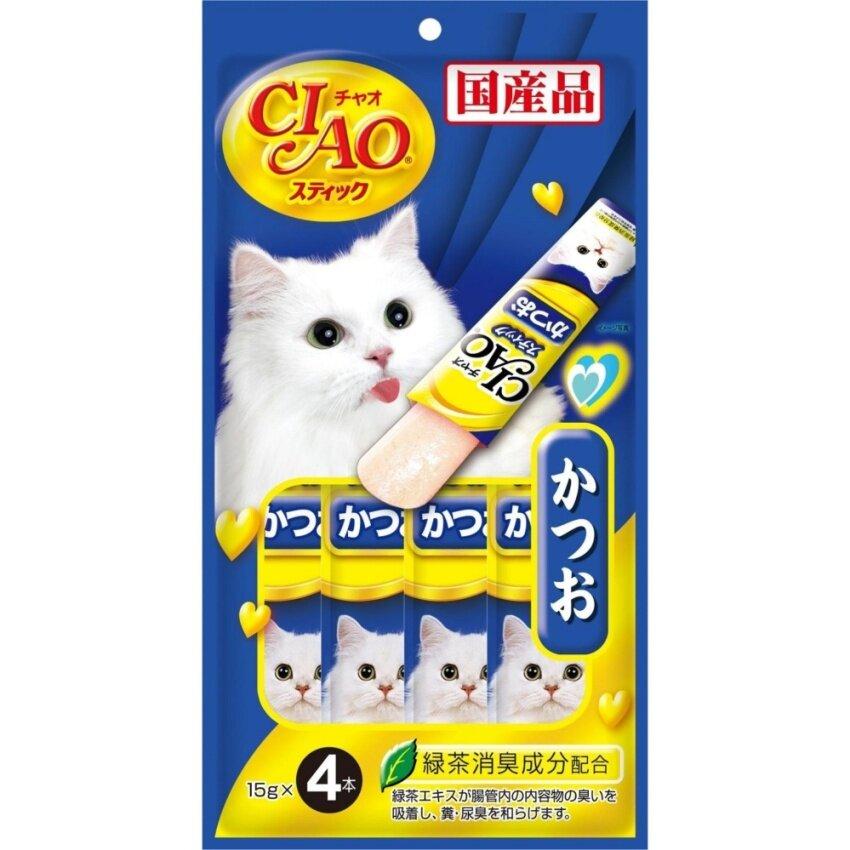 CIAO CHURU Tuna Katsuo in Jelly 14 Pack (4x12g) ขนมแมว รสปลาคัตสึโอะ (4 ซอง/แพ็ค) จำนวน 14 แพ็ค