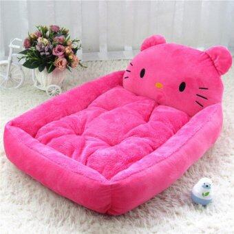 Cute Animal Cat Dog Pet Beds Mats Teddy Pet Dog Sofa Pet Cat BedHouse Big Blanket Cushion Basket Supplies 1(L_pink KT cat) - intl