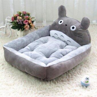 Cute Animal Cat Dog Pet Beds Mats Teddy Pet Dog Sofa Pet Cat BedHouse Big Blanket Cushion Basket Supplies 6(L_grey_ Totoro) - intl