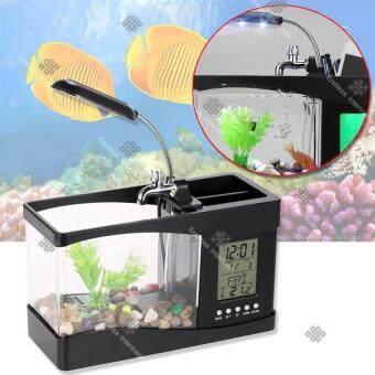 Elit ตู้ปลา USB อเนกประสงค์ หรือปลั๊กเสียบ เป็นที่ใส่อุปกรณ์เครื่องเขียน มีนาฬิกา ตั้งปลุกได้ (Black)