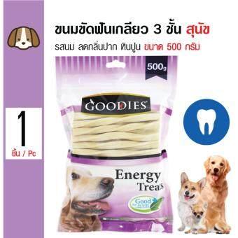 รีวิว Goodies ขนมขัดฟัน แท่งเกลียว 3 ชั้น ลดกลิ่นปาก คราบหินปูน รสนมสำหรับสุนัขทุกสายพันธุ์ ขนาด 500 กรัม