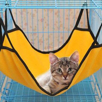 Hot Sale Pet Plush and Canvas Hammock Kitten Sleep Bed Yellow -intl