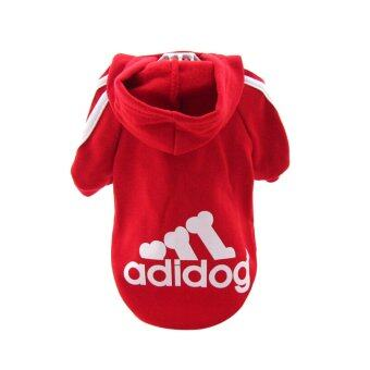 Harga ELENXS Dog Cat Warm Pet Clothes Cost Puppy Sports Clothes Hoodie Coat Cloths Winter Outdoor Red & S - intl