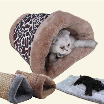 Harga New Small Cat Dog House Bed Dual Purpose Nest Mat Cat Dog Bed House Cute Kennel Nest Fleece Tent Pet Dog Cat Bed Mats For Sofa_LEOPARD - intl
