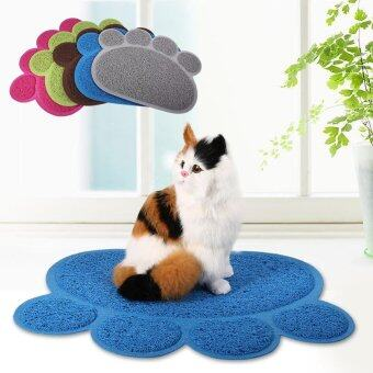 Harga Fashionable Dog Cat Paw Shape Bed Pet Food Water Feeding Place Pad (Sky Blue) - intl