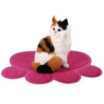 Harga Fashionable Cat Dog Paw Shape Bed Pet Food Water Feeding Place Pad (Rose Red) - intl