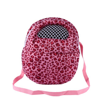 Harga Pet Carrier Pocket Hamster Rat Cat Rabbit Ferret Outdoor Travel Bag (Leopard Pink L) - intl