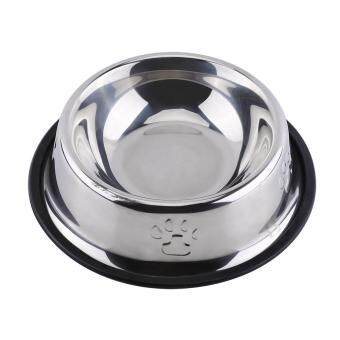Harga Paw Printing Puppy Dogs Food Bowl Stainless Steel Cats Food Feeder Water Drinking Dish (18cm) - intl