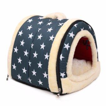 Harga Multifuctional Dog House Nest With Mat Foldable Pet Dog Bed Cat Bed House-blue star white star - intl