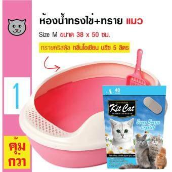 Makar ห้องน้ำแมว กระบะทรายแมว รูปทรงไข่ ขนาด 38 x 50 ซม. + Kit Cat ทรายแมวคริสตัล กลิ่นโอเชียน บรีซ ใช้ได้นาน 40 วัน สำหรับแมวทุกวัย ขนาด 5 ลิตร