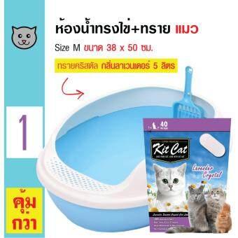 Makar ห้องน้ำแมว กระบะทรายแมว รูปทรงไข่ ขนาด 38 x 50 ซม.+ KitCat ทรายแมวคริสตัล กลิ่นลาเวนเดอร์ ใช้ได้นาน 40 วัน สำหรับแมวทุกวัยขนาด 5 ลิตร