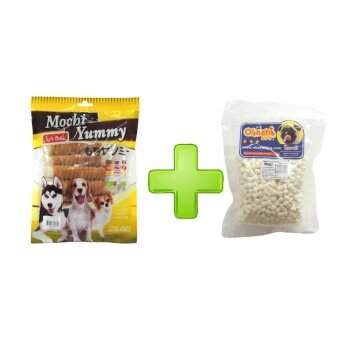 Mochi Yummy ขนมสำหรับสุนัข ปลาแผ่นพันไก่ รสไก่ 450g. 1 ถุง + Okashiนมแพะอัดเม็ด 500 กรัม 1 แพ็ค