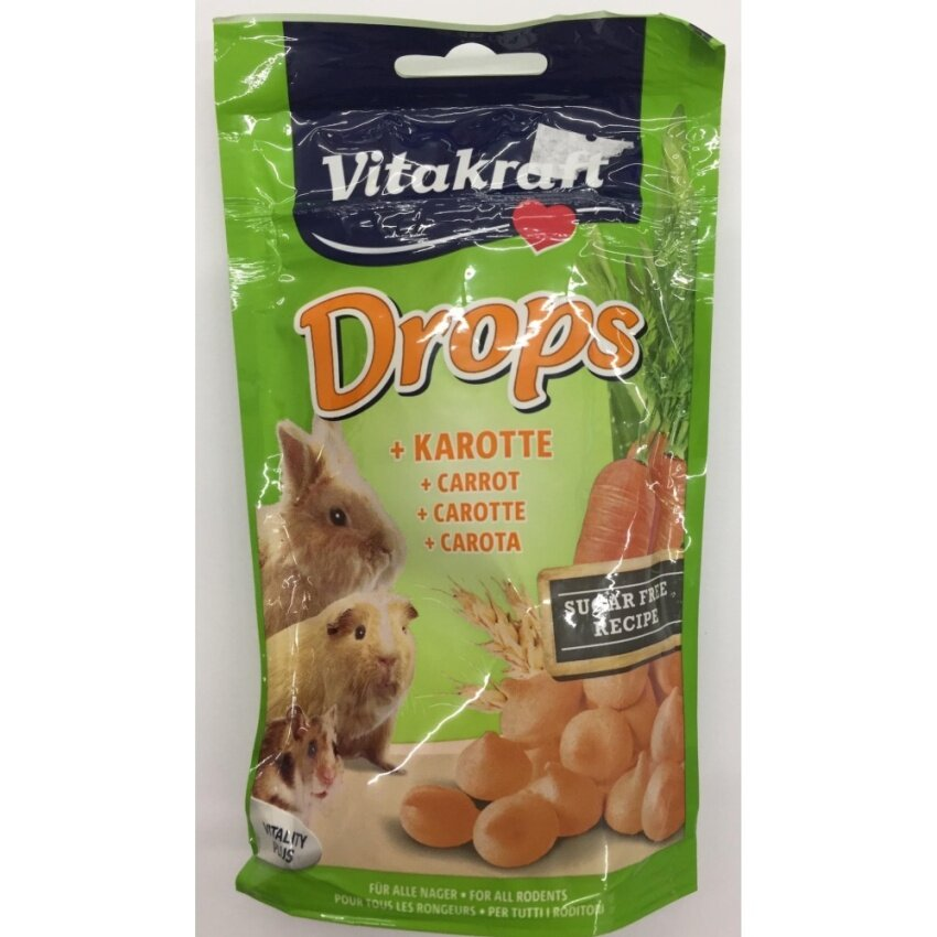 Vitakraft Drops Carrot for all rodent ดรอป์สำหรับสัตว์ฟันแทะ 75g ( 2 units )