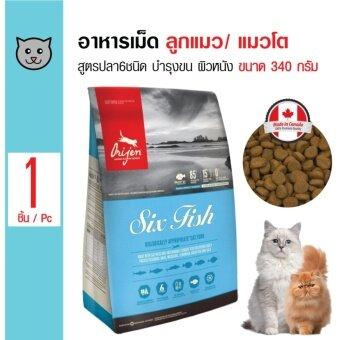 Orijen อาหารเม็ด สูตรปลา 6 ชนิด บำรุงขนและผิวหนัง สำหรับลูกแมวและแมวโต ขนาด 340 กรัม