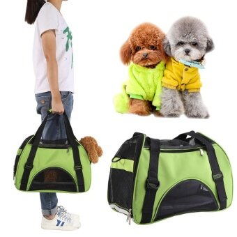 Pet Dog Cat Puppy Outdoor Carrier Single Shoulder Breathable CarryBag (Green) - intl รูบที่ 1