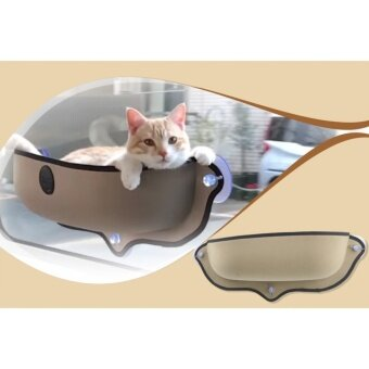 ที่นอนแมวแบบติดกระจก ที่นอนแมว ที่นอนแมวในรถ สีครีม
