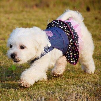 Size S Small Pet DogPuppy Cat Coat เสื้อผ้าสุนัขขนาดเล็กชุดสุนัขขนาดเล็ก ชุดน้องหมา ยีนส์เสื้อผ้าเครื่องแต่งกาย - 2