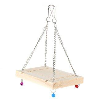 Harga Wooden Swing Parrot Hamster Bell Suspension Poppled Hanging LadderToy(With 4 bell) - intl