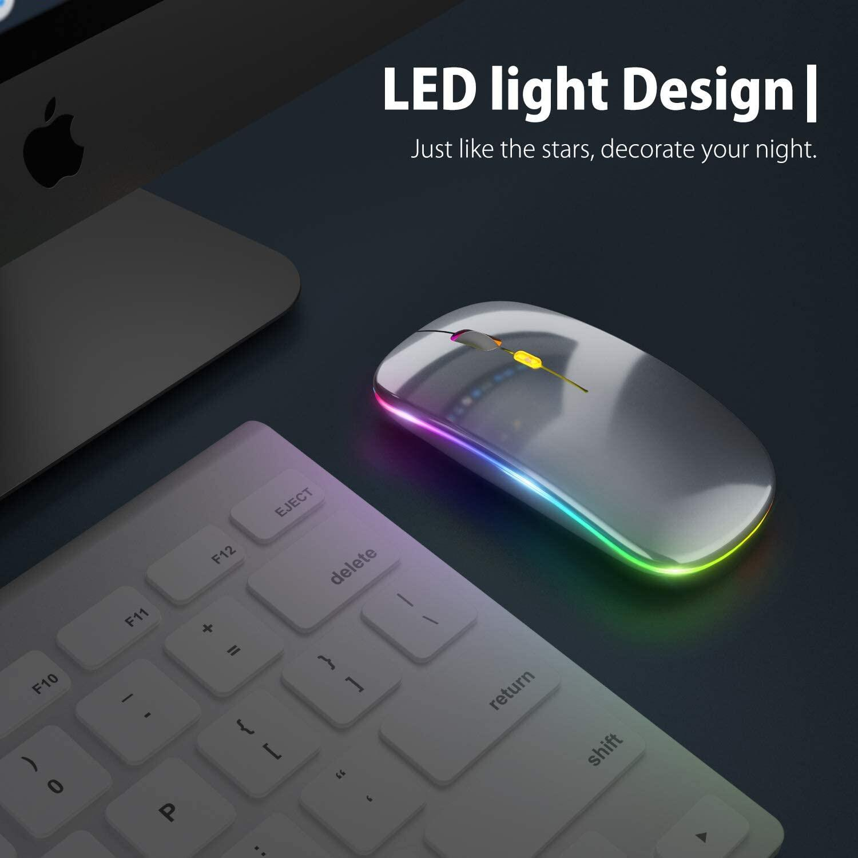 เมาส์ไร้สาย M1 (มีแบตในตัว) (ปุ่มเงียบ) (มีปุ่มปรับความไวเมาส์ DPI 1000-1600) มี (Premium Optical Light ใช้งานได้เกือบทุกสภาพผิว) Rechargeable Wireless Mouse M1