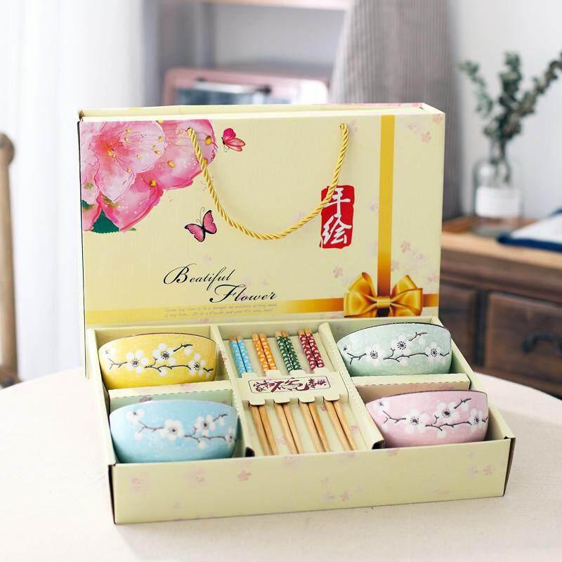 Model Jepang kreatif rumah tangga Makan Mangkuk keramik Set Mangkuk nasi Mangkok sumpit Set hadiah Peralatan