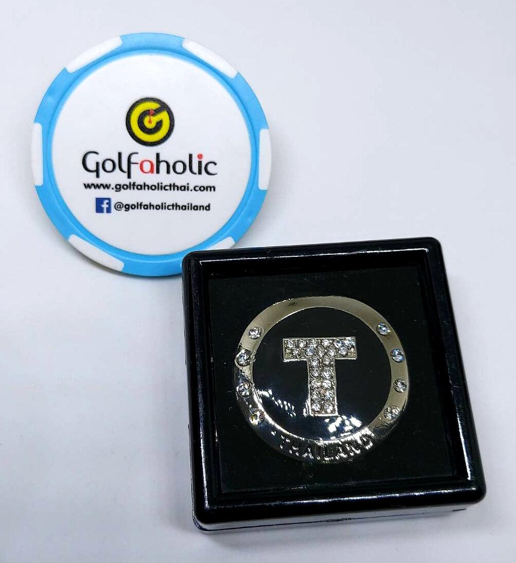 Golfaholic Crtstal Golf Magnetic Ball Markers Alphabets - กอล์ฟ บอลมาร์คเกอร์ ตัวอักษรอังกฤษ ฝังคริสตัล