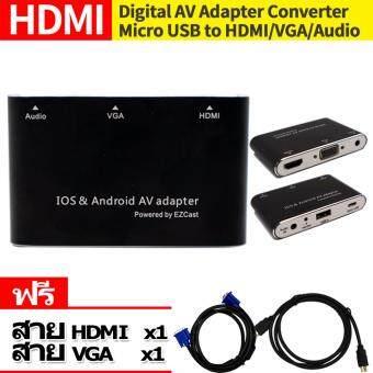 1080P Digital AV Adapter USB to HDMI TV VGA Projector Audio Converter for iPhone 7 6S Plus IPad Samsung Galaxy S8 S7 IOS Android แถมสายHDMI to HDMI 1เส้น มูลค่า199 สายVGA to VGA 1เส้น มูลค่า199
