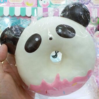 Harga 12 cm Squishy PUNIMARU Jumbo Animal Donut - White Black Panda SweetScented Slow Rising - สกุชชี่แพนด้า สีดำ ขาว