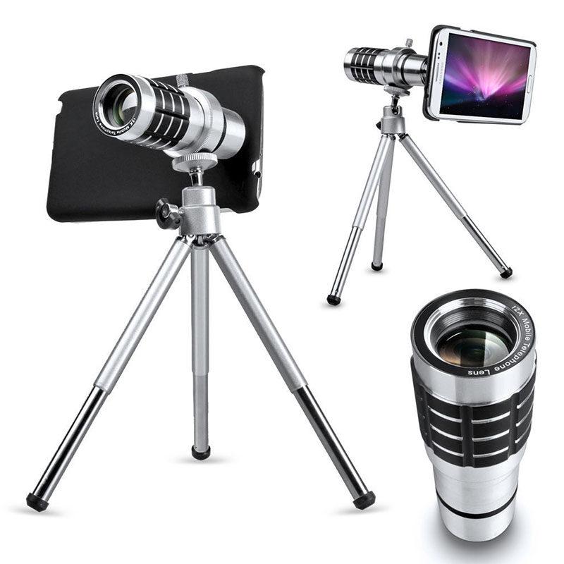 ยูนิเวอร์แซล 12 xเลนส์กล้องส่องทางไกลเลนส์ซูม+จุดยึดขาตั้งสำหรับโทรศัพท์มือถือ(เงิน)-ระหว่างประเทศ
