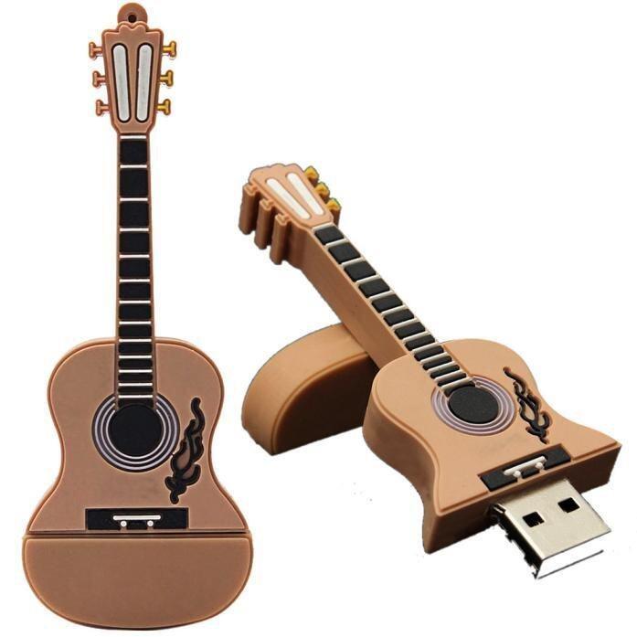 1GB Guitar USB 2.0 Metal Flash Memory Stick Storage Thumb U Disk Khaki - intl