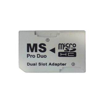 2 Slot Micro For SD SDHC TF to Memory Stick MS Card Pro Duo Reader Adapter