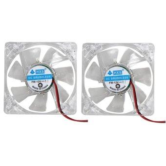 2 X Colorful LED Case Fan 12V 4Pin 80mm 80x25mm For Computer PC CPUCooling - intl