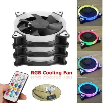 3-Pack Computer Case PC Cooling Fan RGB Adjust LED 120mm Quiet Cooler IR Remote - intl