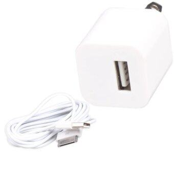 Harga 3M Data Sync Cable With USB AU Plug Wall Charger Adapter For iPhone4 4S (White) - intl