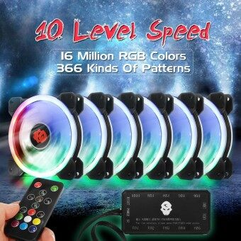 6-Pack 1800RPM RGB LED Quiet Computer Case PC Cooling Fan 120mm +Remote Control - intl