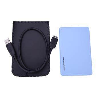 6.35ซม USB 3.0 SATA ฮาร์ดดิสก์ไดรฟ์ภายนอกกล่องฝาปิดเคสฮาร์ดดิสก์(สีน้ำเงิน)