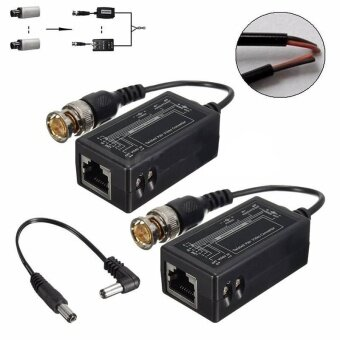 A Pair Black BNC Male To RJ45 Interference-free Converter for CCTVCamera Video - intl
