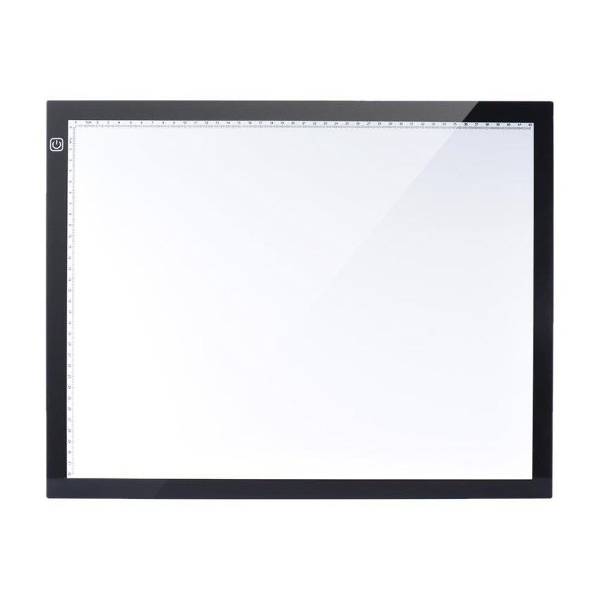 A3 47 * 37cm 21.4 inch LED Artist Stencil Board Tattoo Drawing Tracing Table Display Light Box Pad LED Copy Board Intelligent Touch Control 3 Adjustable Brightness Levels with Multifunction Holder EU Plug(Black) - intl