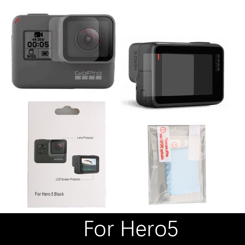 Accessries FOR GoPro ฟิล์มกันรอย เลนส์ จอ GOPRO HERO 5 Protective film Lens + LCD Screen Action Camera