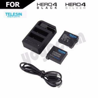 แบตเตอรี่เสริม Telesin GOPRO HERO 4 1200mAh 2 แบต + แท่นชาร์จ 3 ช่อง ( 2ช่องแบต + 1ช่องรีโหมต)