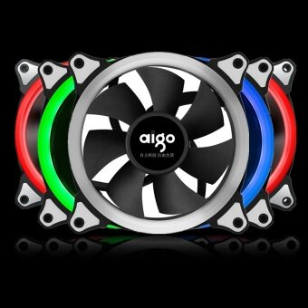 Aigo RGB Case Cooling Fan 120mm 6pin Silent Fan With LED Ring Adjustable Color Case Radiator Fan Computer Water Cooler Fan 12cm (Only 1pcs RGB Fan) - intl