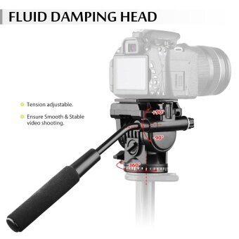 Andoer ABS 360 Fluid Drag Video Action Head Panoramic Hydraulic Damping Photographic Head for Canon Nikon Sony DSLR Camera Camcorder for Tripod Monopod Slider Shooting Filming - intl