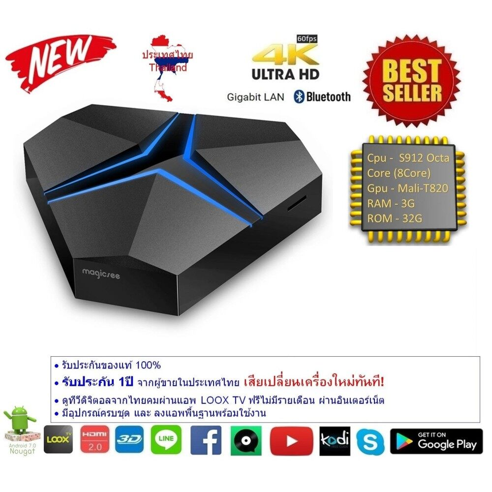 โปรโมชั่นพิเศษ  เพชรบูรณ์ Android Smart TV Box Magicsee Iron+ plus Octa Core Cpu S912 RAM 3G ROM 32G UHD 4K Android Nougat 7.1.2