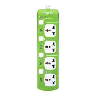 Anitech ปลั๊กไฟ 4 ช่อง รุ่น H304 (สีเขียว/ขาว)