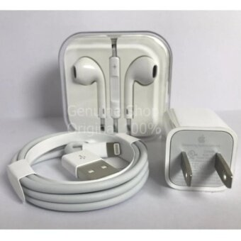 อยากขาย Apple Set หัวชาร์จ+สายชาร์จ+หูฟัง Newest iPhone7(White)