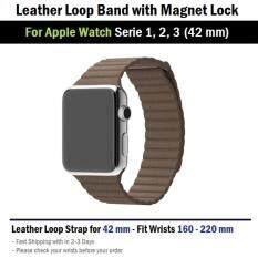 THB 379 สาย หนัง นาฬิกา Apple Watch 42 mm ทุกซีรีย์ ตัวล็อค แม่เหล็ก -- Replacement Leather Loop Band for Apple Watch Series ...